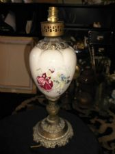 UNUSUAL ANTIQUE LAMP ORNATE BRASS WITH POTTERY BODY FRAGONARD ROMANCE 18""